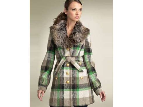 plaid coat faux fur