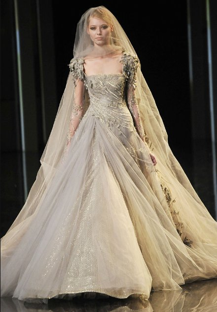 a dove gray haute couture gown by Elie Saab that featured lace sleeves